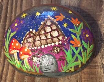 FAIRY house - FAIRY garden - garden stone - garden rock - hand painted - rock art - starry sky - garden art-fantasy art-whimsical stone art