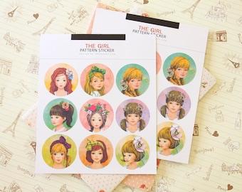 The Girl Pattern Sticker round paper stickers