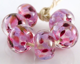 Violet Fire Encased SRA Lampwork Handmade Artisan Glass Donut/Round Beads Made to Order Set of 6 10x15mm