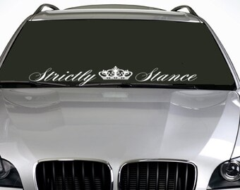 90cm Strictly Stance Crown ANY COLOUR Windscreen Sticker euro JDM Drift Car Vinyl Decal