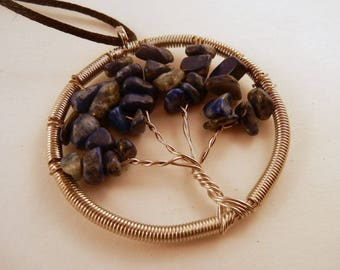 Tree of Life Necklace Lapis Lazuli Natural Crystal Pendant, Stone Jewelry