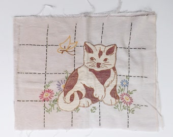 Vintage embroidered pillow cover flannel with appliqued cat