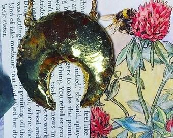 Gold Plated Quartz Moon Necklace