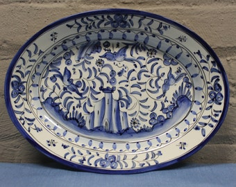 17th Century Inspired Portugese Faience Ceramic Oval Serving Platter