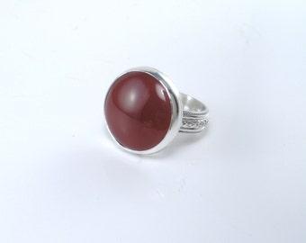 Carnelian Silver Ring Large Stone Ring Persimmon Gemstone Ring Size 8 1/2 Ring Statement Artisan Orange Agate Ring Sterling Rust Stone Boho