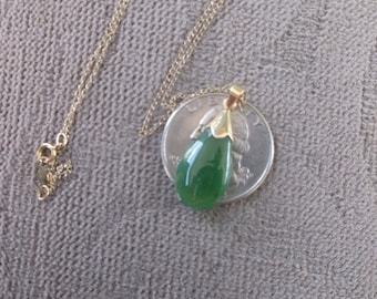"14K Jade necklace by Elka 1-1/4"" L pendant on 15"" L  14k Chain vintage set  green gemstone set in deco yellow gold"