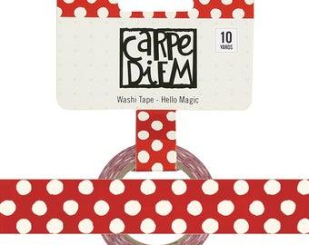 Say Cheese HELLO MAGIC Red Polkadot Washi Tape Carpe Diem Planner accessories, washi masking tape, paper tape, 15mm x 10 yards, (7931)