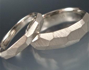 Palladium Chiseled Ring Set - Made to Order