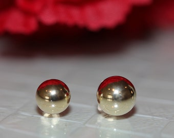 14K Pure Solid Yellow Gold Ball Stud Screw-Back Earrings (7mm/8mm) #S92675