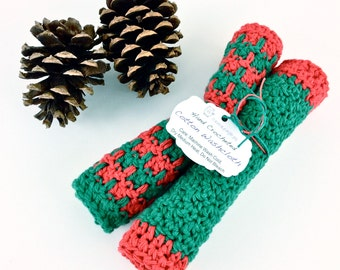 Merry Christmas Washcloths Knit Red Green Holiday Dishcloth Set Cotton Crochet Dish Cloths Holiday Kitchen Gift Secret Santa Coworker Friend