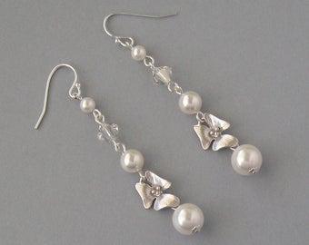 Genuine Swarovski Bridal Earrings - White Swarovski Pearl & Swarovski Crystals in Silver Plated With Orchid - Bridesmaid Gift - DK249