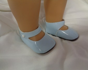 "Blue Patent Leather Mary Jane Doll Shoes for 18"" Dolls- Fits American Girl Dolls"