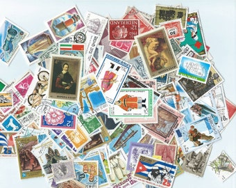 50 Postage Stamps - Scrapbooking, collage, altered art
