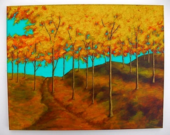 "Autumn Forest (ORIGINAL ACRYLIC PAINTING) 16"" x 20"" by Mike Kraus"