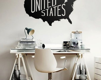 Large USA map Vinyl wall  decal - United States wall sticker - Made well in the United States decal - M003