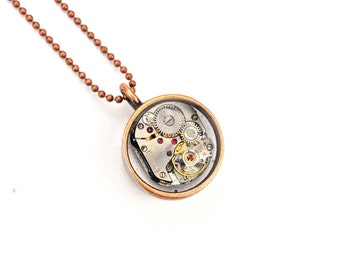Double sided mechanism necklace - SteampunkStocking Stuffers
