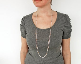 Long chain necklace golden freshwater pearls double chain necklace long necklace for women