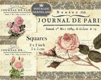 Journal de Paris Roses Lace French squares 2x2 inch Instant Download digital collage sheet TW156