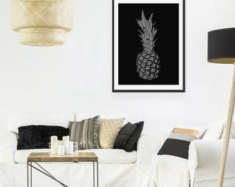 Pineapple Art Print by Green Lili. Pineapple Wall Art. Pineapple Picture. Tropical Decor.