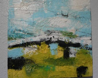 """Encaustic Wax Painting on 12"""" square canvas. An abstract landscape by donna sledge DCS Studio."""