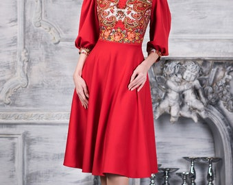 Red boho style dress by AugustWalzShop