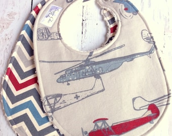 Airplane Baby Boy Bibs  - Set of 2 Chenille Triple Layer Design  -  Red, Blue, Pewter Gray - VINTAGE AIRPLANES & CHEVRON