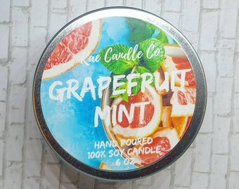 Grapefruit Mint  6 oz. Soy Candle/ Summer Candle/ Fruity Candle