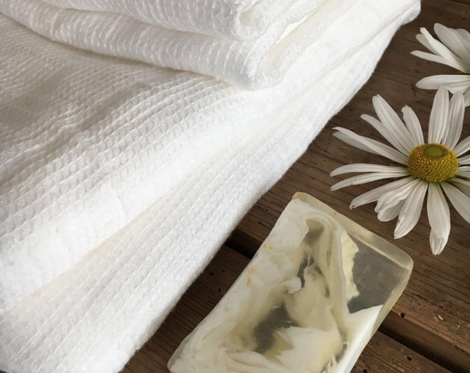 White Linen Towels, Waffle Towels, Set Of Waffle Bath Towels With Two Face  Towels