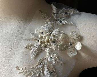 IVORY 3D lace Applique  #1, Beaded and Embroidered for GRAD, Lyrical Dance, Ballet, Couture Gowns, Costume Design F5