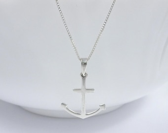 Large Sterling Silver Anchor Necklace, Gift for Wife, Anchor Necklace, Marine Necklace, Nautical Necklace, Beach Jewelry, Beach Necklace