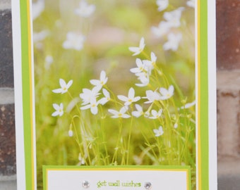 Get Well Wishes Card White & Green Floral Photo