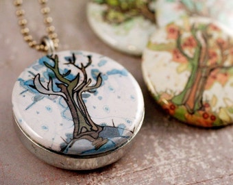 Four Seasons of Trees (recycled magnetic locket set)