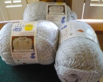 3 - All Seasons Yarn - Color Soft Heather - No Dye Lot - 12 Ozs. Each - 100% Acrylic - 3 Ply- New - Price Is For All