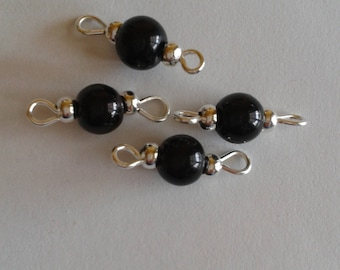 5 connectors 6mm black glass beads
