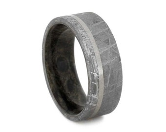 Mens Meteorite Wedding Band With Offset Titanium Pinstripe, Custom Wooden Ring With Buckeye Burl Inner Sleeve, Mens Ring