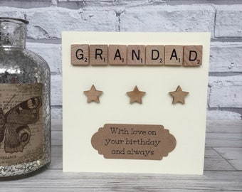 Grandad Birthday Card, Grandad Scrabble Birthday Card, Scrabble Birthday Card For Grandad, Scrabble Birthday Card