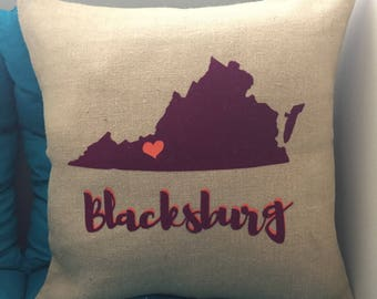 "Blacksburg, VA Love 18"" x 18"" Pillow Cover - Maroon and Orange Pillow Cover with Zipper - 18"" x 18"" Blacksburg, VA Pillow Cover"