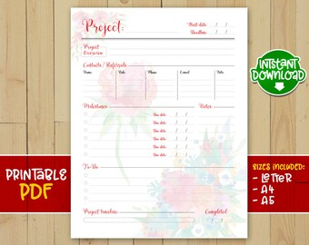 Printable project tracker, project manager, project log, project journal, project planner, project log, US letter, A4, A5 - INSTANT DOWNLOAD