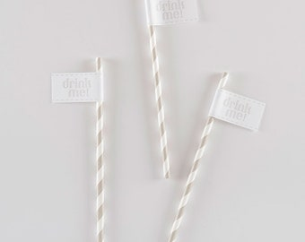 Bailey Striped Drink Straw with Flag