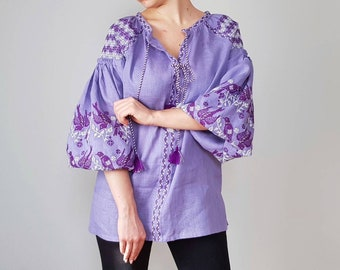 Vyshyvanka linen blouse lavender color oversize tunic with  embroidery Mexican blouse Urban chic Casual style ljm