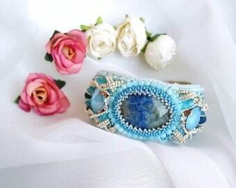 Bead embroidery cuff bracelet  light blue bracelet luxury acсessories gift for the ladies boho ryssian style gemstone