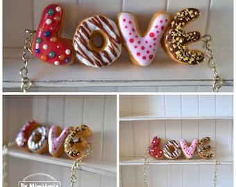 Donut ''LOVE'' necklace,Donut necklace,Custom word donut necklace,Polymer clay necklace
