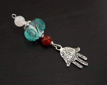 Red Carnelian Rose Quartz Ocean Wave Hamsa / Hand of Fatima Blessingway bead - Blessing bead, baby shower gift, pregnancy gift, doula gift
