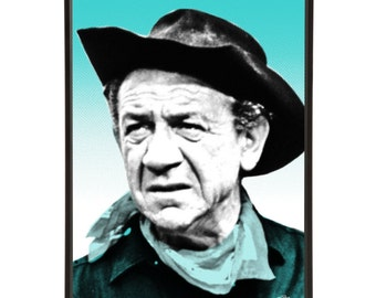 Sid James - pop art portrait of Sid James, the incorrigible star of the Carry On films with the unmistakeable laugh.