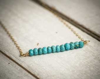 Turquoise necklace, turquoise  bar necklace, turquoise gemstone necklace, dainty necklace, gold bar necklace, simple necklace, gift under 50