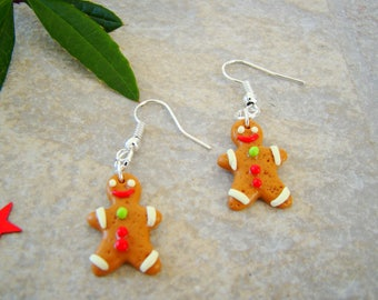 biscuit - earrings polymer clay gingerbread man - kids earrings - polymer clay earrings