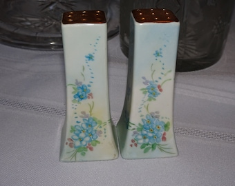 Vintage Baby Blue Hand Painted Salt & Pepper Shakers, Hand Painted Porcelain, Pretty Blue Flowers, Baby Blue Flowers, Wedding Gifts