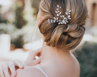 """Bridal Hair Pin, Hair Pin for Bride,  Hairpin ~ """"Gwen"""" Rhinestone and Pearl Hair Pin (Silver, Silver with Opal, Gold or Rose Gold)"""