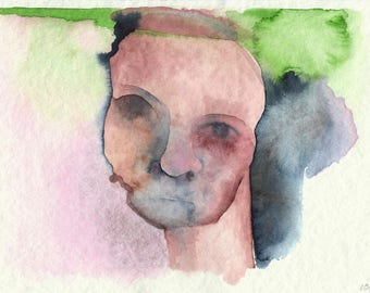Expressionistic Untitled Portrait A5 Watercolor Fine Art Print