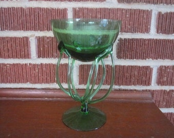Vintage Mid Century Modern Sculptural Abstract Green Hand Blown Art Glass Pedestal Bowl